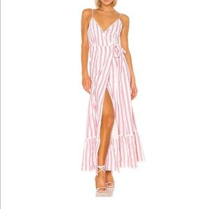 Tularosa wrap dress in red and white stripes